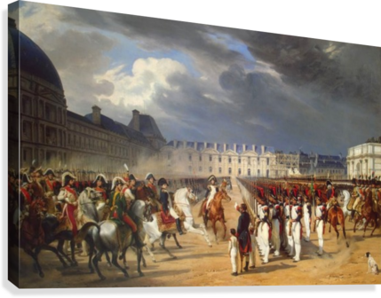 An Invalid Submitting a Petition to Napoleon at a Parade in the Courtyard of the Tuileries Palace 1838  Canvas Print