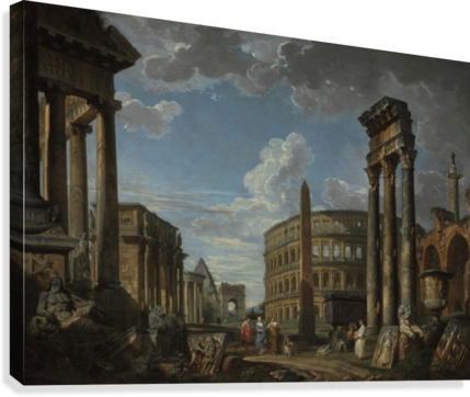 An architectural capriccio with figures among Roman ruins  Canvas Print