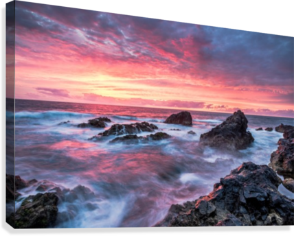 Colorful Sunset at Wild Coast on the Canary Islands  Canvas Print
