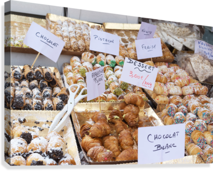 Desserts at market in France  Canvas Print