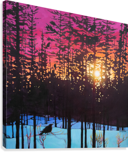 Crows at Sunset  Canvas Print
