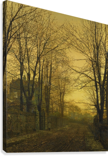 Autumn view with figure  Canvas Print