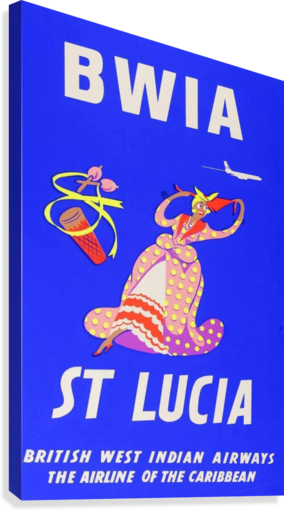 BWIA St Lucia original travel poster  Canvas Print