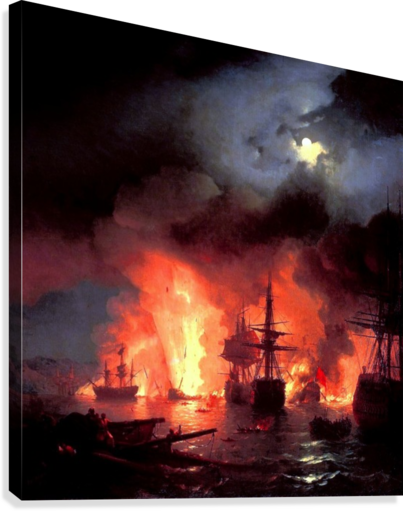 Battle of Cesme at Night  Canvas Print