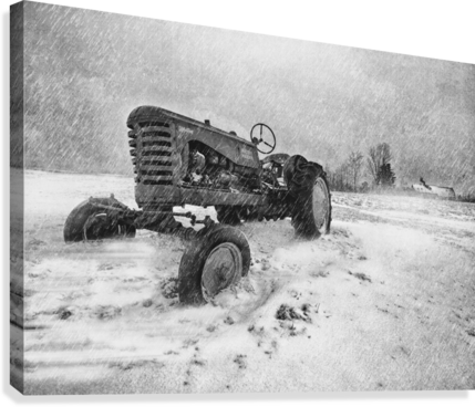 Winter Snow  Mountain Farm And Old Tractor  Canvas Print