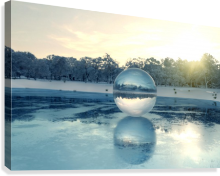 crystal ball on frozen lake  Canvas Print