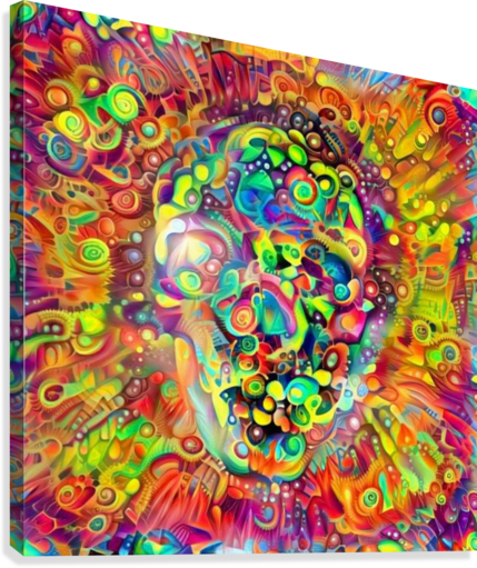 VIVID SKULL SILHOUETTE BRUCE ROLFF  Canvas Print
