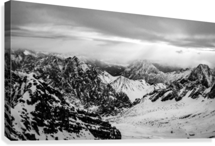 Zugspitze in black and white  Canvas Print