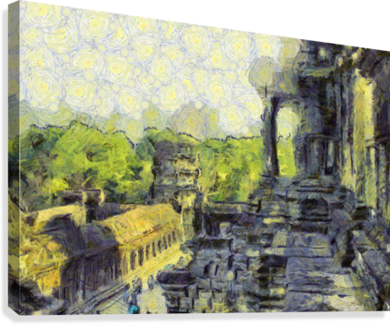 CAMBODIA Angkor Wat oil painting in Vincent van Gogh style. 130  Canvas Print