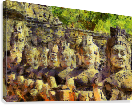 CAMBODIA Angkor Wat oil painting in Vincent van Gogh style. 141  Canvas Print