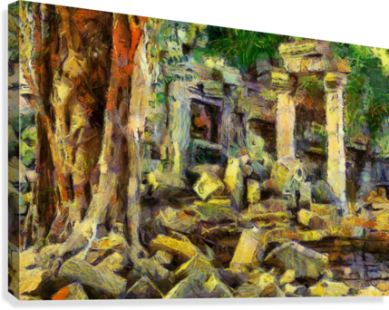 CAMBODIA Angkor Wat oil painting in Vincent van Gogh style. 148  Canvas Print
