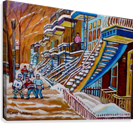 MONTREAL WINTER SCENE HOCKEY GAME NEAR THE BLUE STAIRCASE  Canvas Print