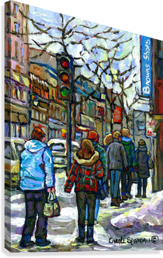 DOWNTOWN MONTREAL WINTER SCENE SHOPPERS ON ST. CATHERINE STREET  Canvas Print