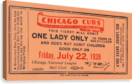 1938 Chicago Cubs World Series Ticket  Canvas Print
