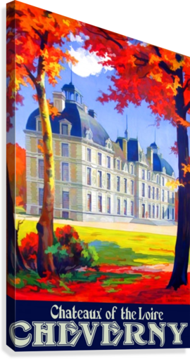 Chateaux of the Loire Cheverny travel poster  Canvas Print