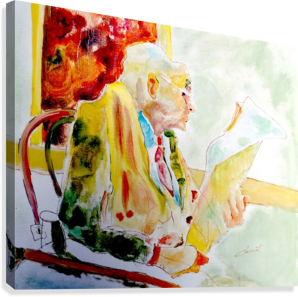 Old Man Reading Newspaper  Canvas Print