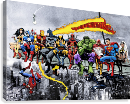 MORE Marvel DC Superheroes Lunch On A Skyscraper New Art Extra Heroes  Canvas Print