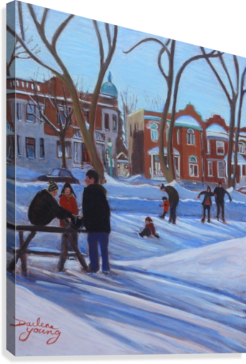 Learning to Skate at Outremont Park  Canvas Print