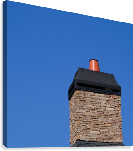 Stone Chimeny with Metal Cap  Canvas Print