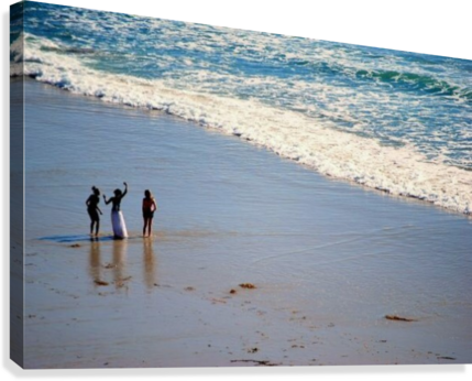 3 girls on California beach  Canvas Print