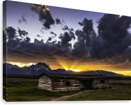 Pioneer Cabin sunset Grand Tetons  Canvas Print