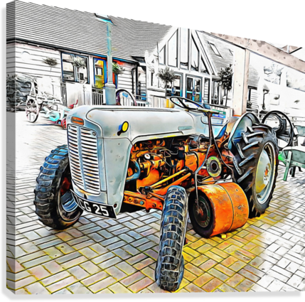Ferguson Tractor and Hand Roller  Canvas Print