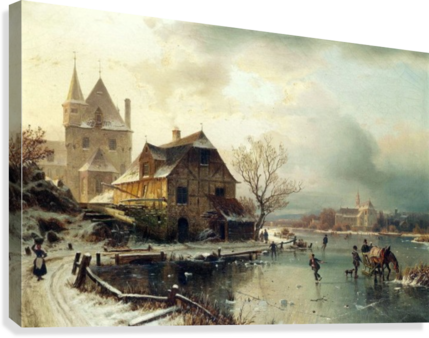 Dutch winter landscape with skaters  Canvas Print