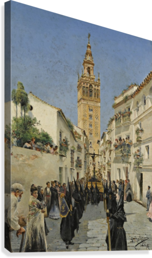Easter Procession on Mateos Gago Street in Seville  Canvas Print