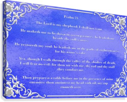 PSALM 23 1BL SCRIPTURE ON THE WALLS  Canvas Print
