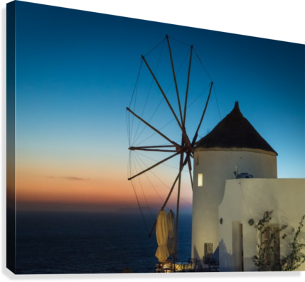 Mills Oia Night  Canvas Print