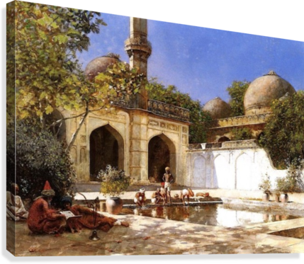Figures in the Courtyard of a Mosque  Canvas Print