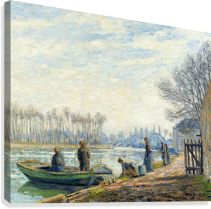 Fishermen at Moret-sur-Loing  Canvas Print