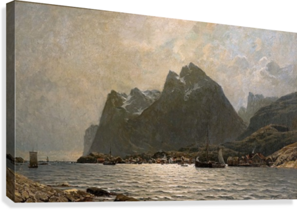 Fjord landscape with ships and figures  Canvas Print
