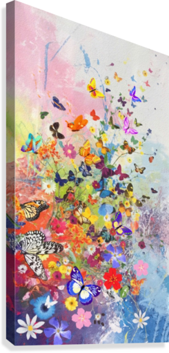 Butterflies and Flowers   Canvas Print