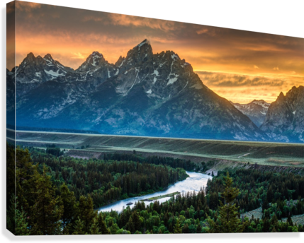 Sunset on Grand Teton and Snake River - Wyoming  Canvas Print