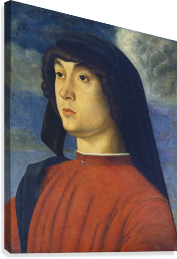 Giovanni Bellini Portrait Young Man Red  Canvas Print