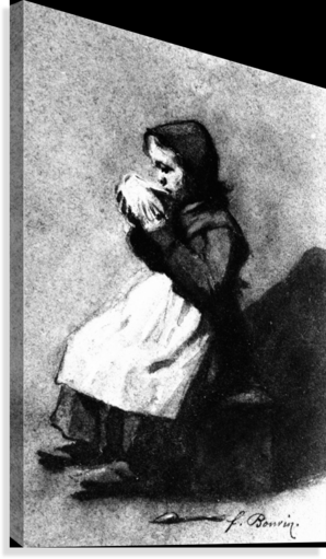 Girl Drinking from a Bowl  Canvas Print
