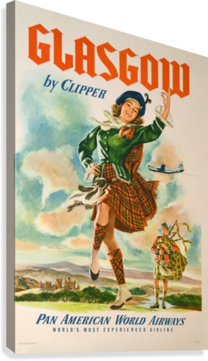 Glasgow By Clipper Poster For Pan American Airlines Canvas Print
