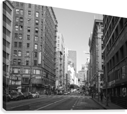 7TH & BROADWAY DTLA - B&W HOLD STILL PHOTOGRAPHY  Canvas Print