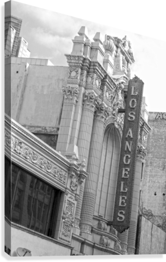 VINTAGE LOS ANGELES THEATRE SIGN - B&W HOLD STILL PHOTOGRAPHY  Canvas Print
