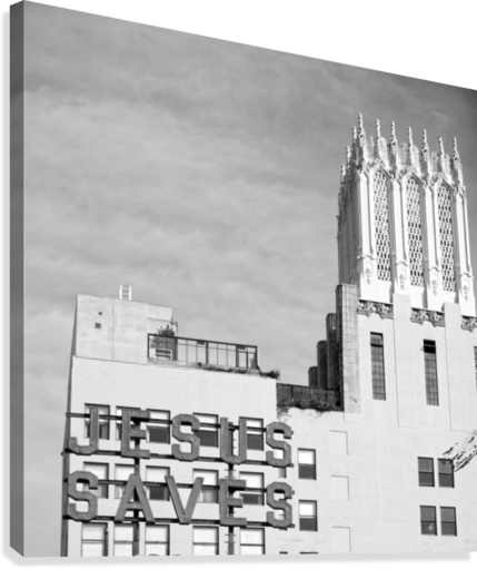 B&W JESUS SAVES BUILDING - DTLA HOLD STILL PHOTOGRAPHY  Canvas Print