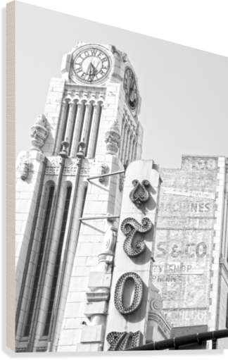 B&W Tower Theatre Clock - DTLA  Canvas Print