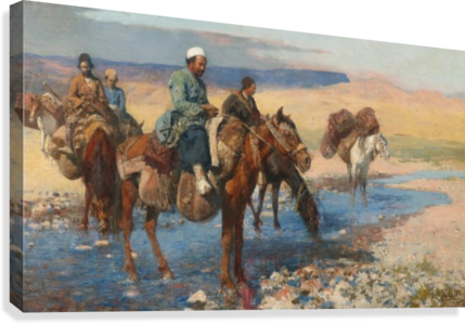 Horses at the Ford-Persia  Canvas Print