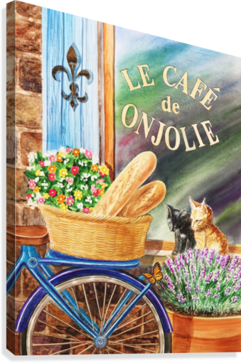 Bicycle With Basket At The Cafe Window  Canvas Print