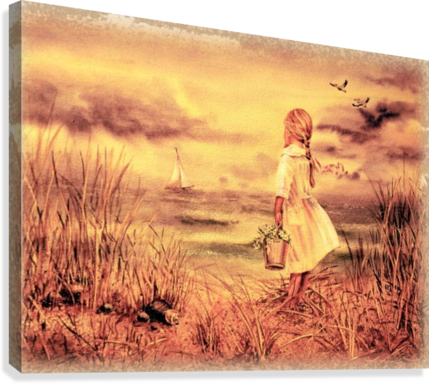 Vintage Watercolor Painting Girl And Ocean  Canvas Print