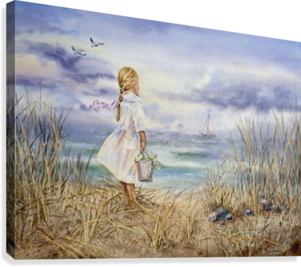 Girl Standing At The Ocean Watching Sailboat and Birds  Canvas Print