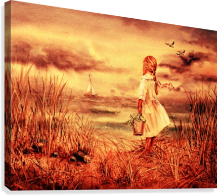 Girl At The Ocean Vintage Style  Canvas Print