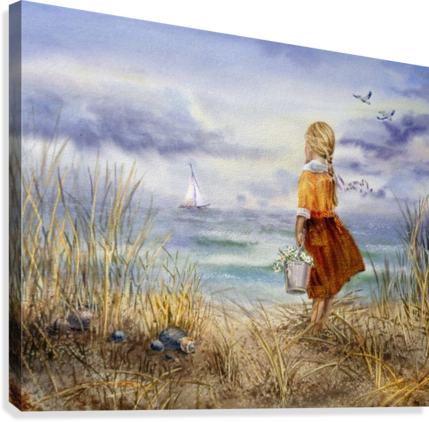 Girl And The Ocean  Canvas Print