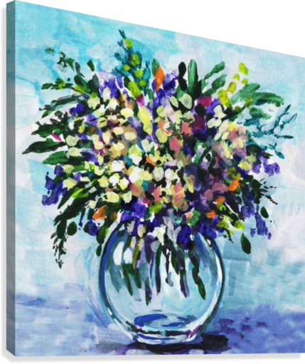Impressionistic Flowers Burst Of Beauty  Canvas Print