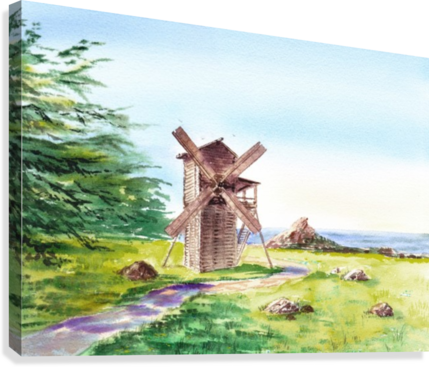 Landscapes Of California Fort Ross Windmill  Canvas Print